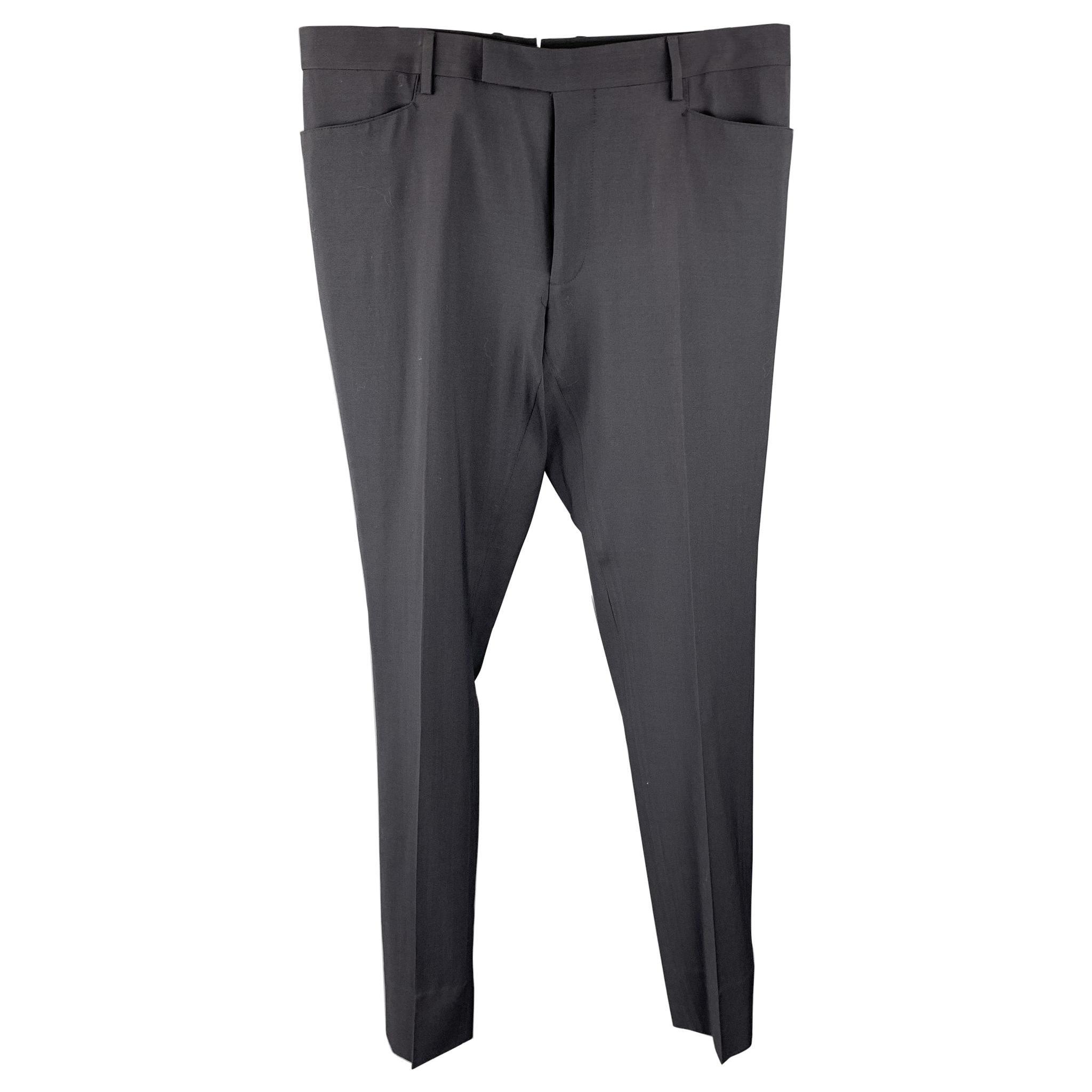 LANVIN Size 34 Black Wool Zip Fly Dress Pants