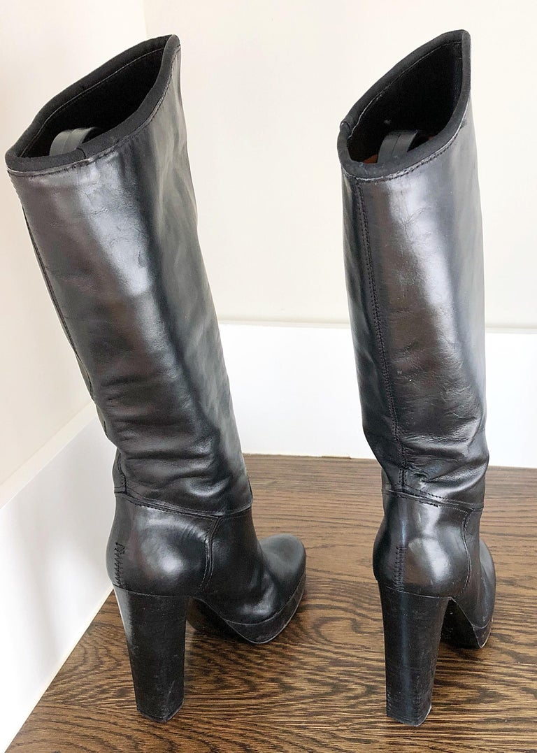 Lanvin Size 35 / 5 Black Leather High Stacked Heel Knee High Boots / Shoes In Good Condition For Sale In Chicago, IL