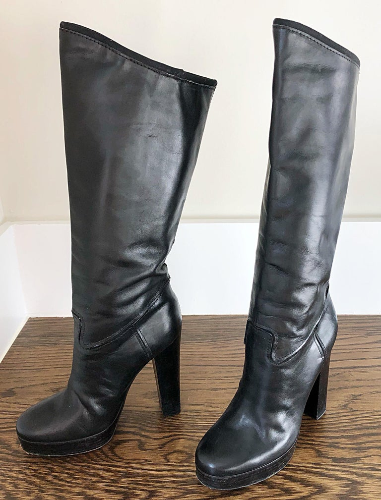 Women's Lanvin Size 35 / 5 Black Leather High Stacked Heel Knee High Boots / Shoes For Sale