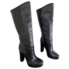 Lanvin Size 35 / 5 Black Leather High Stacked Heel Knee High Boots / Shoes