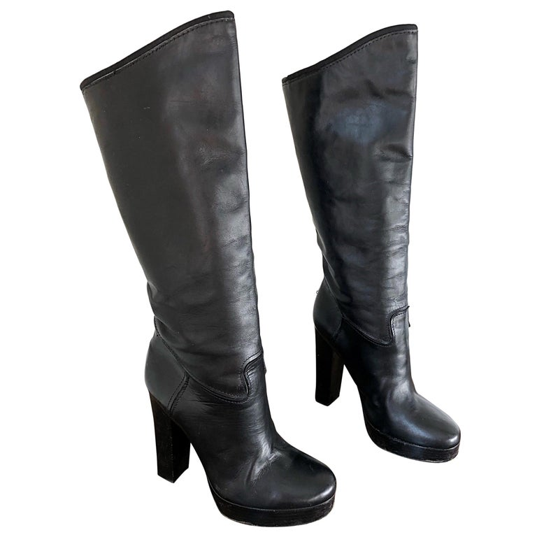Lanvin Size 35 / 5 Black Leather High Stacked Heel Knee High Boots / Shoes For Sale