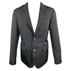 LANVIN Size 38 Black Polyester / Wool Notch Lapel Sport Coat Jacket