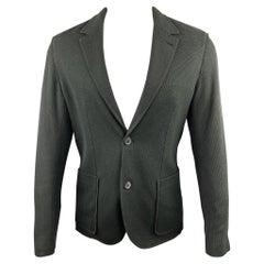 LANVIN Size 38 Charcoal Woven Cotton Notch Lapel Sport Coat Jacket