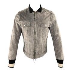 LANVIN Size 38 Grey Suede Fringe Trim Striped Knit Collar Jacket