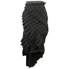 LANVIN Size 4 Black Asymmetrical Raw Hem Pleat Midi Pencil Skirt Skirt