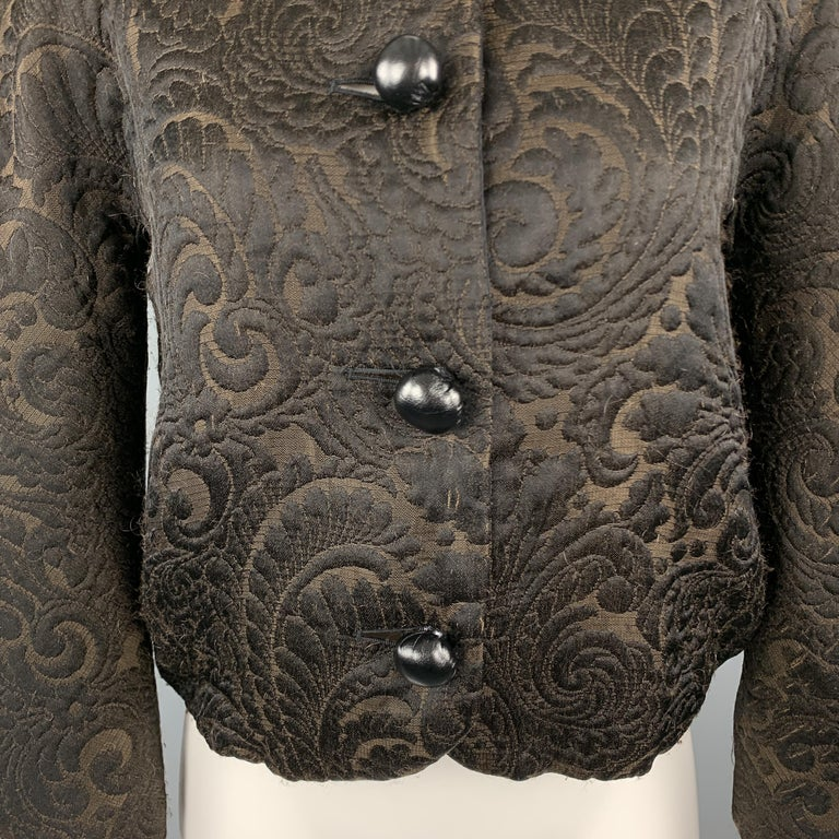 LANVIN Size 4 Black & Brown Brocade Cropped Jacket In Good Condition For Sale In San Francisco, CA