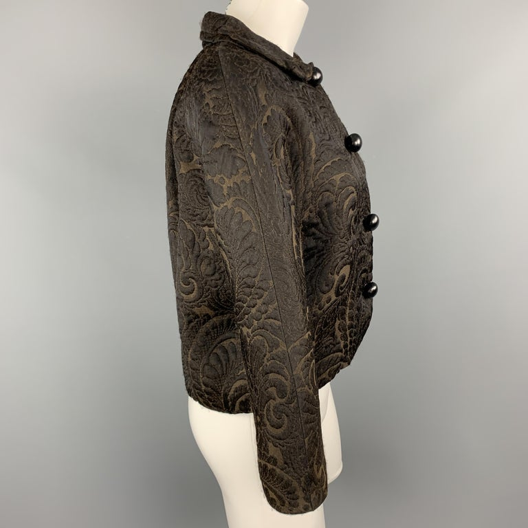 Women's LANVIN Size 4 Black & Brown Brocade Cropped Jacket For Sale