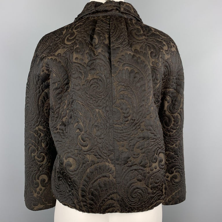 LANVIN Size 4 Black & Brown Brocade Cropped Jacket For Sale 1