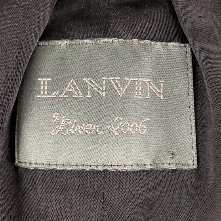 LANVIN Size 4 Black & Brown Brocade Cropped Jacket For Sale 3