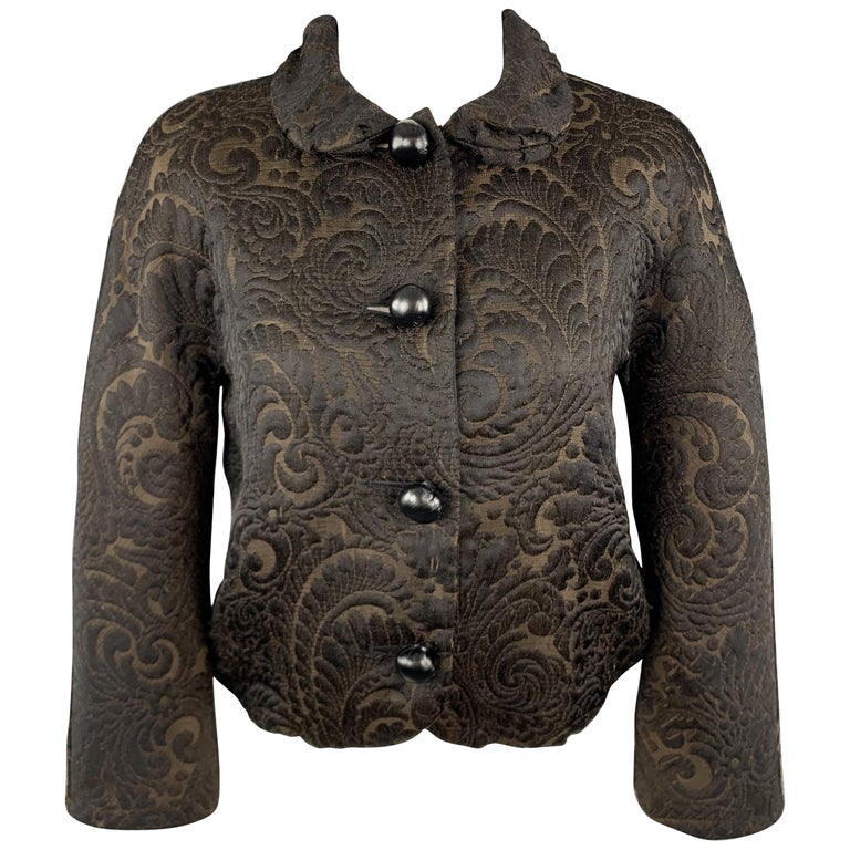 LANVIN Size 4 Black & Brown Brocade Cropped Jacket For Sale