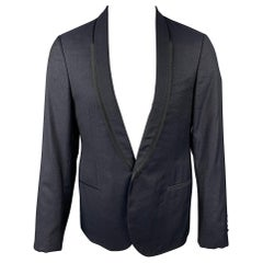 LANVIN Size 40 Black & Silver Sparkle Wool Blend Shawl Collar Sport Coat