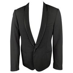 LANVIN Size 40 Black Wool / Lycra Shawl Lapel Tuxedo Sport Coat