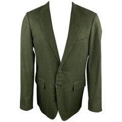 LANVIN Size 40 Regular Hunter Green Wool Blend Sport Coat