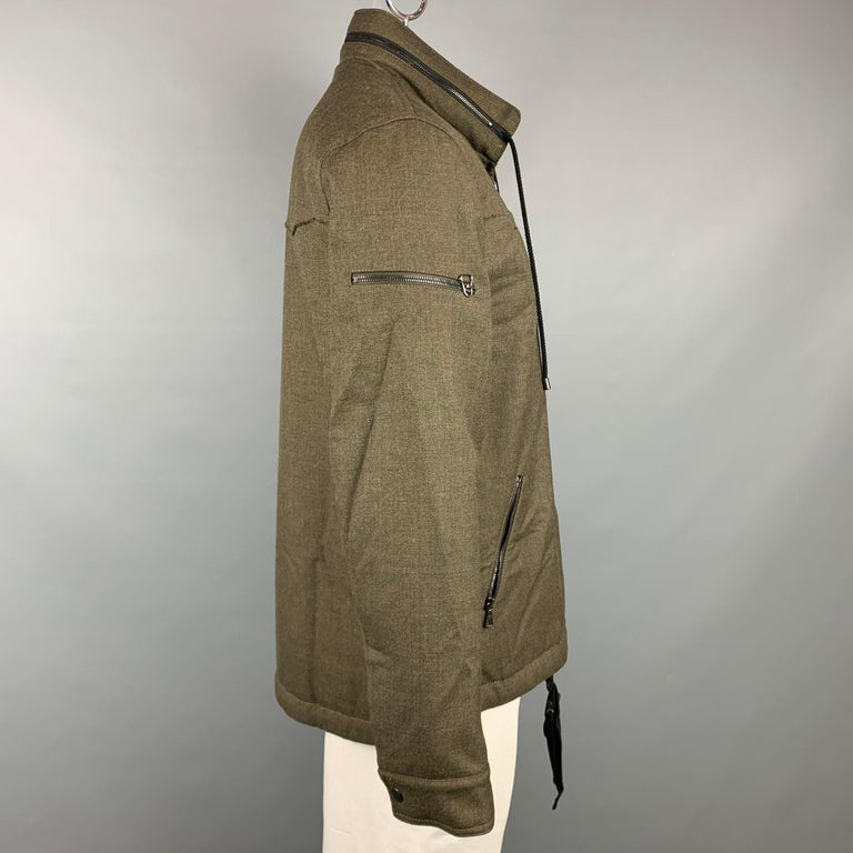 Brown LANVIN Size 42 Olive Wool Zip Up Hooded Zip Up Jacket For Sale