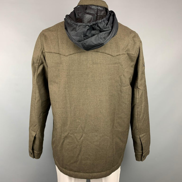 LANVIN Size 42 Olive Wool Zip Up Hooded Zip Up Jacket In Good Condition For Sale In San Francisco, CA