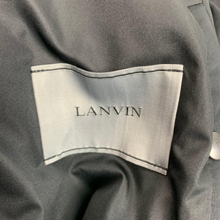 LANVIN Size 42 Olive Wool Zip Up Hooded Zip Up Jacket For Sale 1
