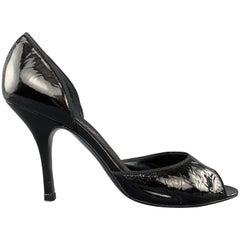 LANVIN Size 7 Black Patent Leather D'Orsay Peep Toe Pumps