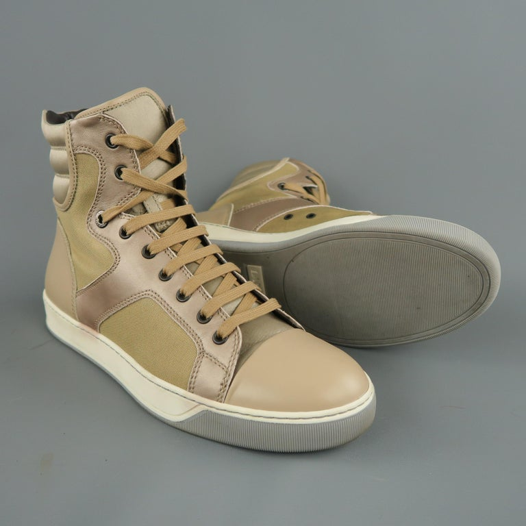 Brown LANVIN Size 8 Beige Leather & Gold Canvas High Top Sneakers For Sale