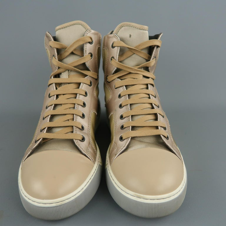 LANVIN Size 8 Beige Leather & Gold Canvas High Top Sneakers In Good Condition For Sale In San Francisco, CA