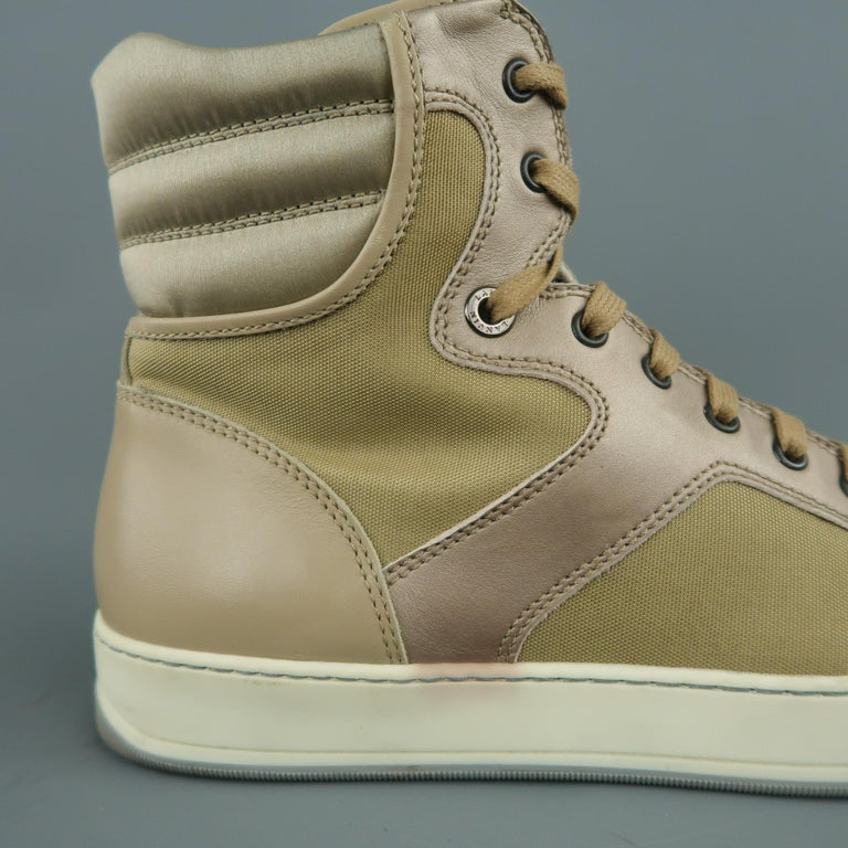 Men's LANVIN Size 8 Beige Leather & Gold Canvas High Top Sneakers For Sale