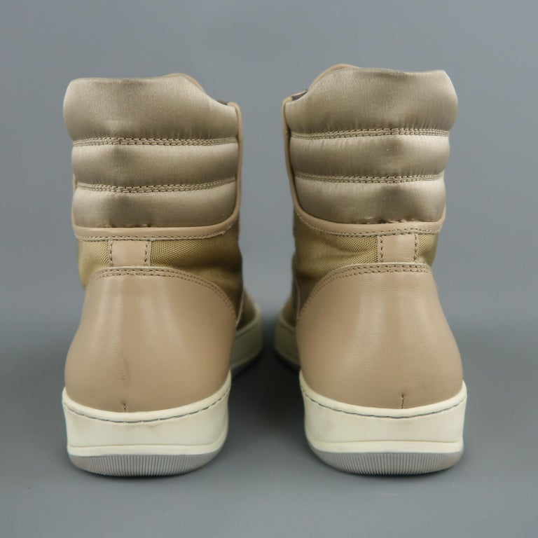 LANVIN Size 8 Beige Leather & Gold Canvas High Top Sneakers For Sale 1