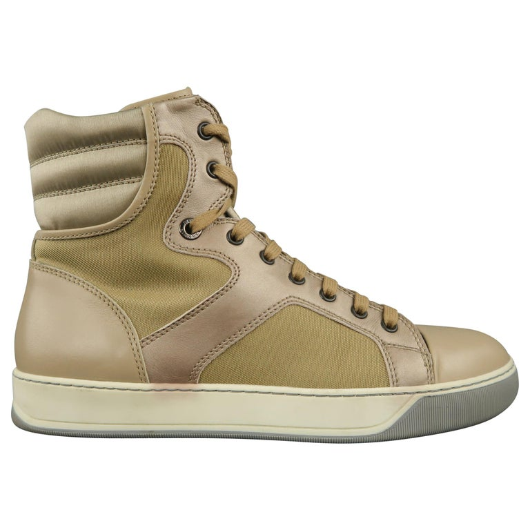 LANVIN Size 8 Beige Leather & Gold Canvas High Top Sneakers For Sale