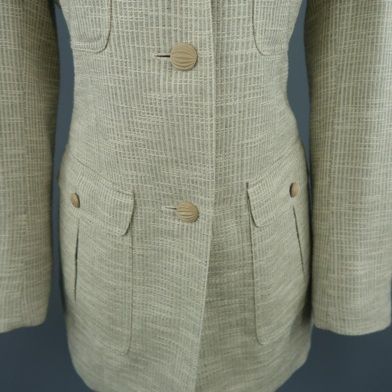 LANVIN Size 8 Beige Textured Military Pocket Jacket In Excellent Condition For Sale In San Francisco, CA