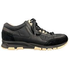 LANVIN Size 8 Black Nylon Lace Up Sneakers