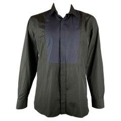 LANVIN Size L Black & Navy Cotton Hidden Buttons Long Sleeve Shirt