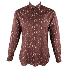LANVIN Size L Brown Abstract White Print Cotton Long Sleeve Shirt