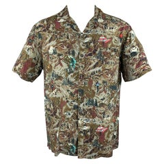 LANVIN Size L Grey & Brown Print Viscose Camp Short Sleeve Shirt