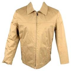 LANVIN Size L Khaki Cotton Blend Stiff Paper Collared Work Jacket
