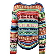 LANVIN Size L Multi-Color Jacquard Pattern JL Wool / Polyester Boat Neck Sweater