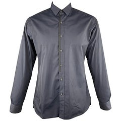 LANVIN Size L Navy Cotton Button Up Long Sleeve Shirt