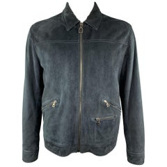 LANVIN Size L Navy Suede Zip Blouson Jacket
