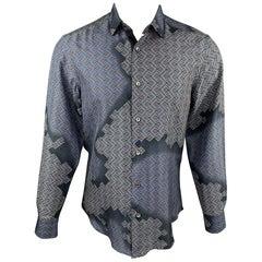 LANVIN Size M Navy & Blue Geometric Button Up Long Sleeve Shirt