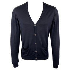 LANVIN Size M Navy Wool V-neck Slit Pockets Elbow Patches Cardigan Sweaters