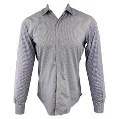 LANVIN Size S Blue Plaid Cotton Mixed Fabrics Hidden Buttons Long Sleeve Shirt