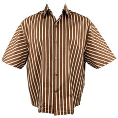 LANVIN Size S Brown & White Stripe Cotton Button Up Short Sleeve Shirt