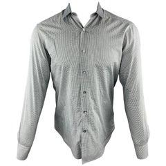 LANVIN Size S Grey Plaid Cotton Button Up Long Sleeve Shirt