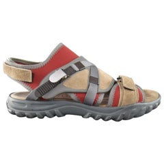 LANVIN Size US 10 Beige & Red Neoprene & Suede Hybrid Strap Sandals