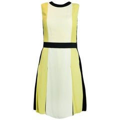 Lanvin Sleeveless Tri-color Pleated Dress w. Attached Belt sz FR36/US4