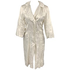 LANVIN Spring 2006 Size 8 Off White Wrinkle Textured Satin Coat