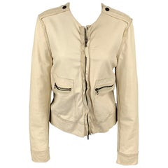 LANVIN Spring 2010 Size 4 Off White Leather Collarless Ruffle Zip Up Jacket