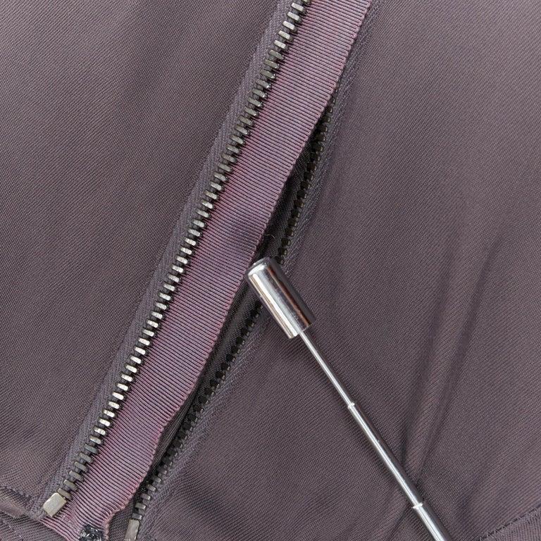 LANVIN SS11 dark brown viscose bodice asymmetric draped silk dress  FR36 S For Sale 6