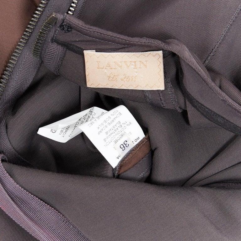 LANVIN SS11 dark brown viscose bodice asymmetric draped silk dress  FR36 S For Sale 7