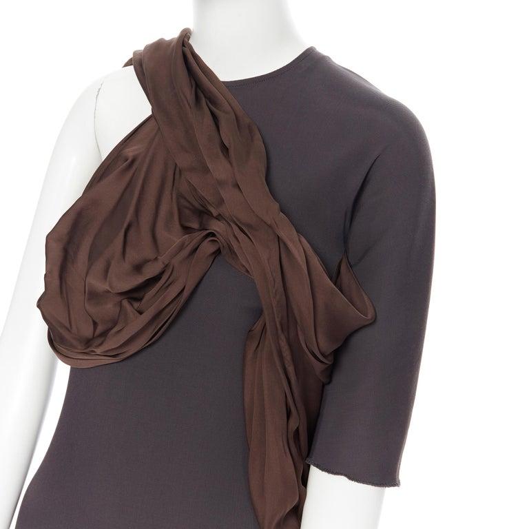 LANVIN SS11 dark brown viscose bodice asymmetric draped silk dress  FR36 S Brand: Lanvin Designer: Alber Elbaz Collection: Spring Summer 2011 Model Name / Style: Draped dress Material: Viscose nlend Color: Brown Pattern: Solid Closure: Zip Extra