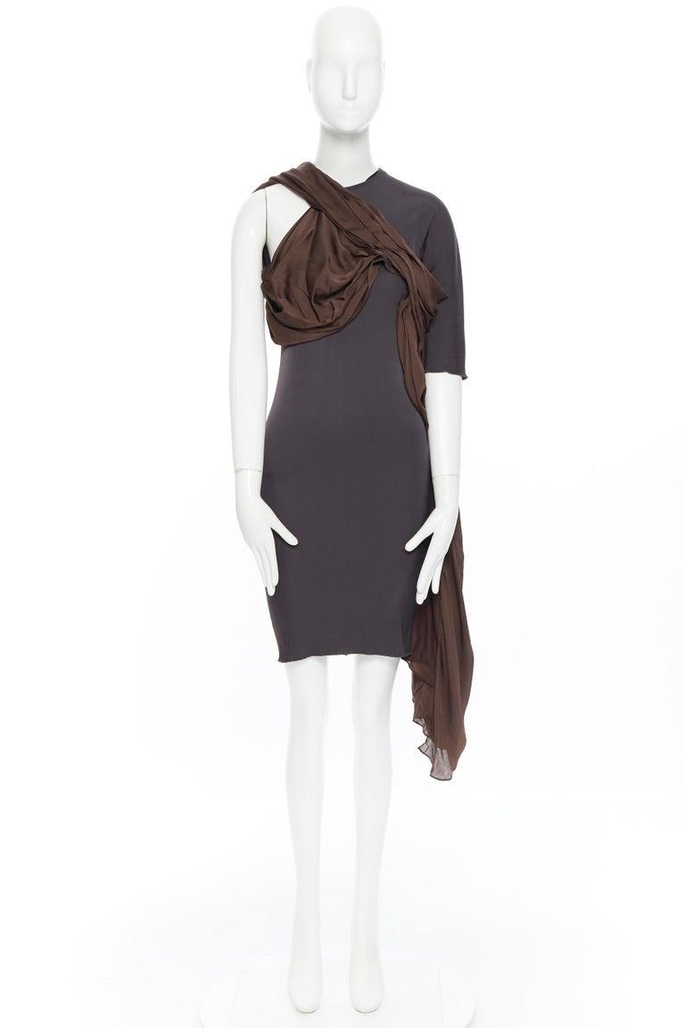 Black LANVIN SS11 dark brown viscose bodice asymmetric draped silk dress  FR36 S For Sale