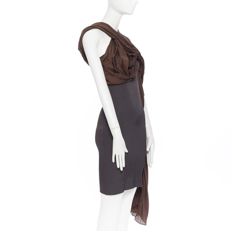 LANVIN SS11 dark brown viscose bodice asymmetric draped silk dress  FR36 S In Fair Condition For Sale In Hong Kong, NT