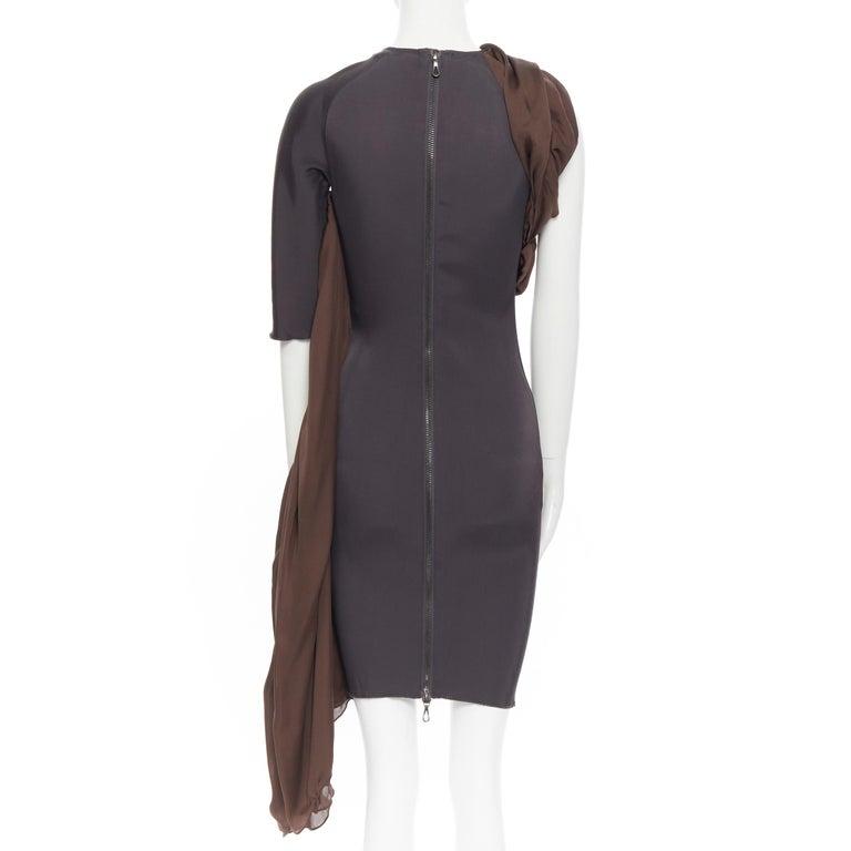 LANVIN SS11 dark brown viscose bodice asymmetric draped silk dress  FR36 S For Sale 1